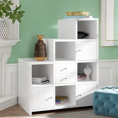 Great Deals on Karlie Cube Unit Bookcase By Willa Arlo Interiors Step Bookcase, Cube Bookcase, Etagere Bookcase, Wall Bookshelves, Cube Storage, Wood Storage, Wood Shelves, Shelving Units, Storage Rack