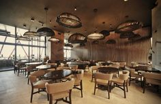 Interior, Magnificent Don Cafe House With Marble Floor Installation Also Chandelier Lamp With Rattan Shade Also Ceiling Decoration With Stage Lamps ~