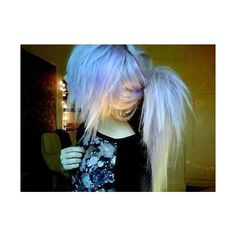 Blue/Teal Scene Emo Hair Girls ❤ liked on Polyvore featuring hair