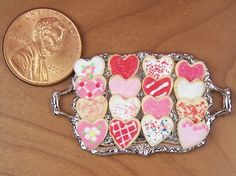 Dollhouse Miniature 16 Valentine Cookies on Metal by miniholiday, $15.99