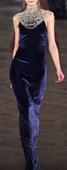 Ralph Lauren blue velvet dress gown