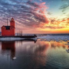 A beautiful watercolor-esque photo of Big Red in Holland, MI captured by Instagram user @mjsphotowall. http://puremi.ch/1fw66MC