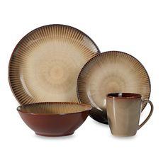 Sango Patio Brown 16-Piece Dinnerware Set | Inspiration Circle ...