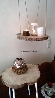 Schwebende Baumscheibe als Wohnaccessoire / floating table made of made of wood by Schwesterherz-Ideen via DaWanda.com