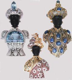 From Italian jewelry house Nardi: Vintage Blackamoor brooches encrusted with diamonds, sapphires, moonstones and Burmese rubies.