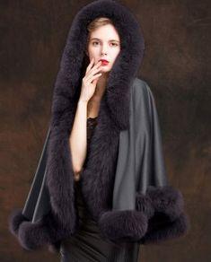 Real Fur Coat & Jacket | Real Fur Coat & Jacket | Fox Trimmed Cashmere Cape | SKU-ffcafo138b | Fur Shop Online Cashmere Cape, Fox Fur Coat, Grey Pattern, 2 Way, Fur Trim, Gray Color, How To Wear, Jackets, Style