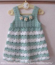 Crochet Baby Dress Crochet patterns free: Beautiful Dress With soft Colors Baby… Crochet Dress Girl, Baby Girl Crochet, Crochet Baby Clothes, Crochet Dresses, Crochet Toddler, Crochet For Kids, Baby Outfits, Kids Outfits, Crochet Yarn