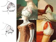As a young woman, Lydia would have saved many pins that compare different trends to one another. This specific one shows different styles of Regency Era dress sleeves. Regency Dress, Regency Era, Historical Women, Historical Clothing, Vintage Gowns, Victorian Dresses, Victorian Gothic, Gothic Lolita, Jane Austen