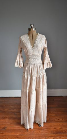 1960s Pintucked Lace Prairie Boho Maxi Dress Blush Pink Full