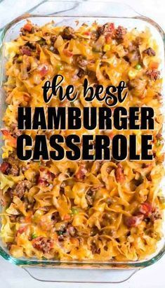 Baked with noodles ground beef seasonings cheese and vegetables this hamburger casserole recipe is a delicious hearty meal that is simple enough for busy nights. Easy Hamburger Casserole, Ground Beef Casserole, Easy Casserole Recipes, Casserole Dishes, Easy Dinner Recipes, Cornbread Casserole, Taco Casserole, Easy Recipes, Chicken Casserole