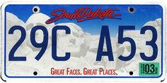 This is the official license plate for the state of South Dakota as it has been officially adopted by the state legislature. Also known as a vehicle registration plate, it is used to identify the car and owner of a motor vehicle or trailer in the state.