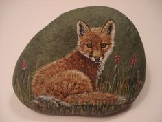 Red Fox pup hand painted on a stone. by wildstonepainter on Etsy