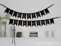 DIY-Idee: Wimpelkette nähen aus Tafelstoff I black & white I chalkboard fabric I Happy Birthday
