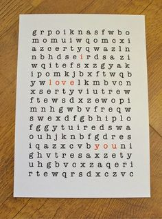 WORD PUZZLE POSTER I love You by artyadz on Etsy, £5.95