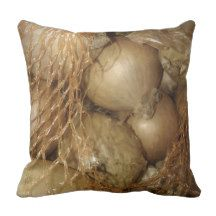 Onions in golden brown net, Food Vegetables Pillow