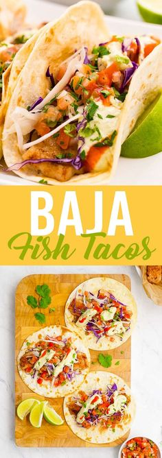 These lightened up Baja fish tacos boast huge flavors without the battering or deep frying. Delicious baked fish, pico, and avocado creme.  #fish #taco #fishtacos #bajafishtaco #bajafish #seafood #tacotuesday