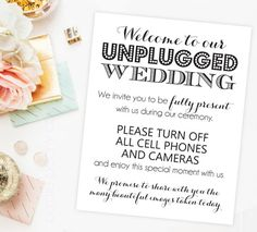Unplugged Wedding Sign Digital Social Media by PurplePeonyCouture