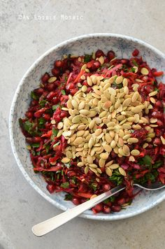 Beet and Carrot Salad with Pomegranate and Pumpkin Seeds Recipe