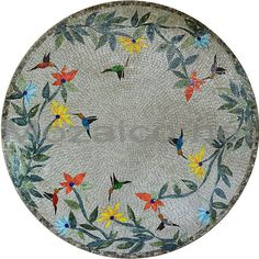 Mosaic Medallion of Birds and Trees Garden | by Mozaico