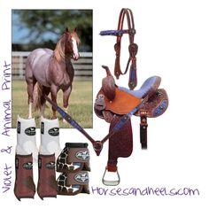 Red Roan with violet & animal print   http://www.horsesandheels.com