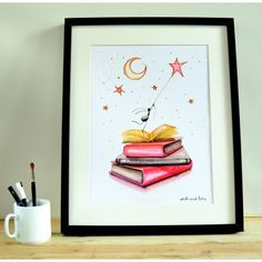 LÁMINA LIBROS Art, Books, Illustrations, Point Of Sale, Kids Rooms, Presents, Dots, Kunst, Art Education