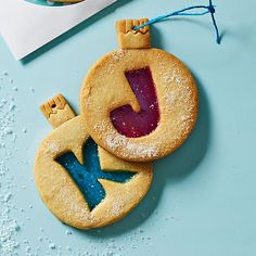 Monogram Cookies: Hard candies create a stain-glass window effect for these beautifully personalized sugar cookies. Christmas Cookie Exchange, Christmas Treats, Christmas Baking, Holiday Treats, Holiday Recipes, Christmas Biscuits, Christmas Ornament, Merry Christmas, Monogram Cookies