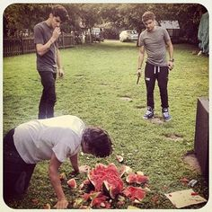 Normal people would just eat the watermelon. But One Direction lads are not normal.