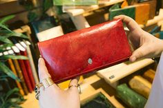FOLDOVER WALLET made with real tree leaves, RED or TURQUOISE