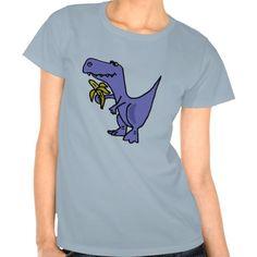 T-Rex Dinosaur Eating Banana Cartoon Tee Shirt #dinosaur #banana #shirt #funny And www.zazzle.com/inspirationrocks* #trex
