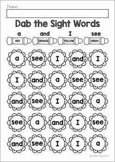 Spring Preschool Worksheets & Activities : Spring Preschool & Kindergarten No Prep Worksheets & Activities. A page from the unit: dab the flower pre-primer sight words Preschool Sight Words, Sight Word Activities, Sight Word Worksheets, Vocabulary Activities, Pre Primer Sight Words, Kindergarten Prep, Education Quotes For Teachers, Teacher Resources, Educational Activities