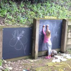 Finished our chalkboards for the play area backyard-playground