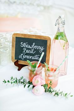 Strawberry Basil Limonata... so refreshing!  Could be made into a Margarita?!