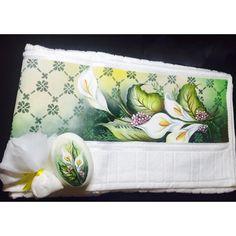 Kit toalha de rosto lavabo pintada à mão