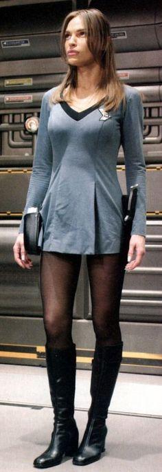 "Space boobs: T'pol (Jolene Balock) on the Star Trek Enterprise wearing the TOS uniform from one of the best episodes, ""In a Mirror, Darkly"" Star Trek Tv, Star Wars, Star Trek Ships, Star Trek Enterprise, Star Trek Voyager, Star Trek Cosplay, Film Science Fiction, Jolene Blalock, Star Trek Images"