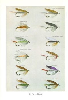 1968 Fishing Print - Wet Flies Plates 5 and 6 - Vintage Home Decor Art Illustration for Framing
