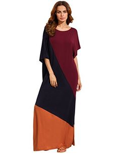 de35e2f44fc Verdusa Womens Summer Color Block Half Sleeve Split Casual Loose Shift Maxi  Dress Multicolor XS     Visit the image link more details.