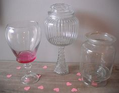 3 Uycycled Wedding Candy Buffet jars  clear by MamaLisasCottage, $29.00