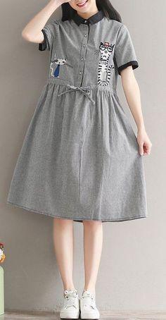 Women dress loose fit pocket cartoon cats kitten checkered tunic short sleeve #Unbranded #dress #Casual