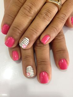 Nails, Art, Pink, Heart Uñas, Fucsia, Corazón
