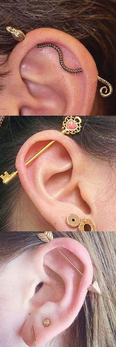 Ear Piercing Ideas at - Industrial Barbell Gold Upper Earring Bar Lobe Piercing, Piercing Chart, Flat Piercing, Cute Ear Piercings, Ear Piercings Cartilage, Body Piercings, Cartilage Earrings, Piercing Tattoo, Stud Earrings