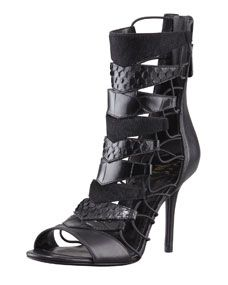 B Brian Atwood Elody Mixed-Media Gladiator Sandal