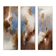 Indigo Abstract Canvas Art, Set of 3