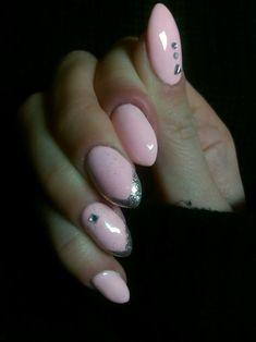 #pink #silver #nails #swarovski #delicate #nude