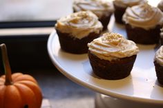 Pumpkin Cupcakes with Chair Cream Cheese Frosting