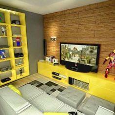 Uma sala para jogar videogame Modern Furniture, Home Furniture, Home Theater Design, Sweet Home, House Design, Room, Decorating Ideas, Interiors, Tv On Wall