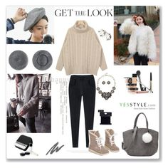 """YesStyle contest ""WINTER FASHION"""" by ludmyla-stoyan ❤ liked on Polyvore featuring Morococo, Oznara, Pinkrocket, Chanel, Trish McEvoy, women's clothing, women's fashion, women, female and woman"