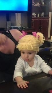 I designed and crocheted this hat for allybear cause she had no hair!