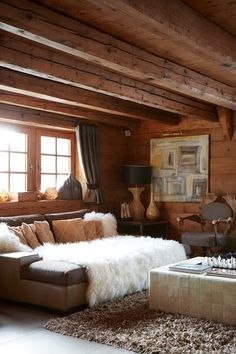 Fur Throw Sofa - Rustic interior design ideas - cosy living rooms, bedrooms and bathrooms inspired by cabin decor, Scandinavian design and wooden interiors. cabin decor 19 cosy, rustic interiors for chilly days