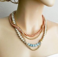 Brown Bridesmaid Jewelry Taupe and Bronze 10mm Single Strand Faux Pearl Necklace Light Gold