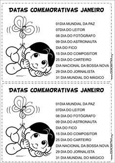 """CALENDÁRIO COM DATAS COMEMORATIVAS: """"JANEIRO À DEZEMBRO"""""""